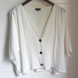 Cropped button up v-neck blouse